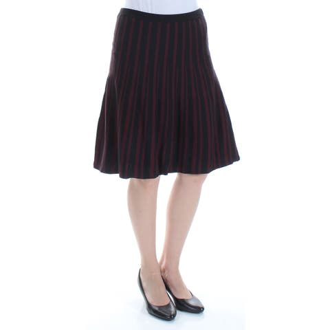 ANNE KLEIN Womens Red Striped Knee Length Fit + Flare Skirt Size: S