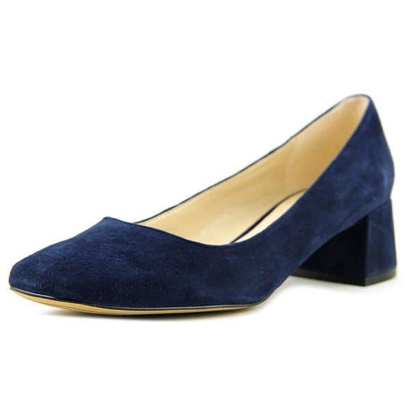 Karl Lagerfeld Charee Women Square Toe Suede Blue Heels