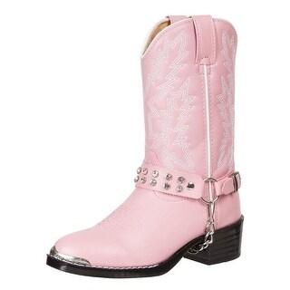 Durango Western Boots Girls Rhinestone Cowboy Heel Pink Bling BT568