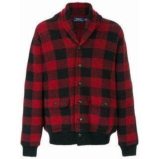 Polo Ralph Lauren Red Mens Size XS Plaid Cardigan Wool Sweater