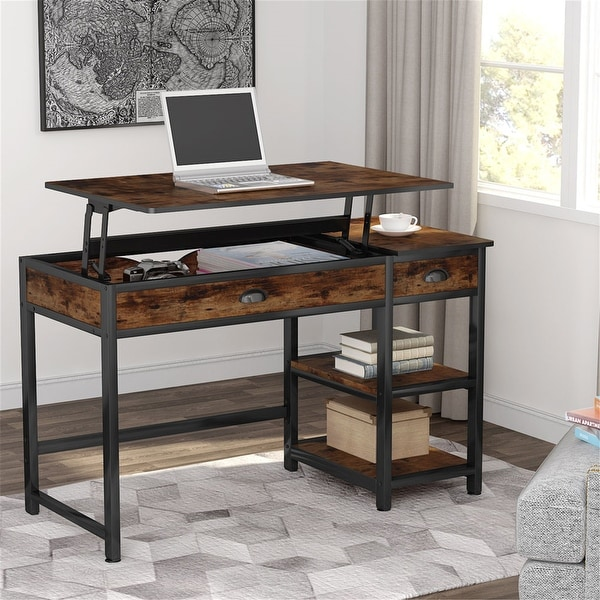 Lift Top Computer Desk with Drawers, 47 inch Office Desk
