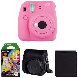 Fujifilm Instax Mini 9 (Flamingo Pink) Bundle with Rainbow Film Bundle
