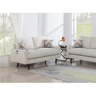 Carson Carrington Ludviki Mid-century Modern Beige Woven Fabric Loveseat Couch