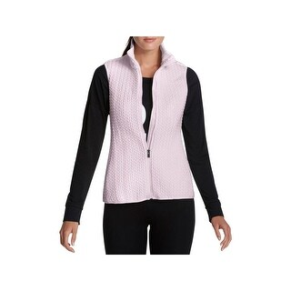 DKNY Sport Womens Packable Vest Metallic Quilted