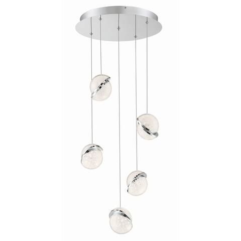 "Kovacs P1445-L Silver Slice 5 Light 17"" Wide LED Crystal Multi Light Pendant - Chrome"