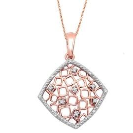 Rose Gold Pendant and Necklace Set 10K 0.05cttw Diamond Honeycomb