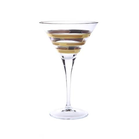 Set of 4 Martini Glasses with 14K Gold Brick Design