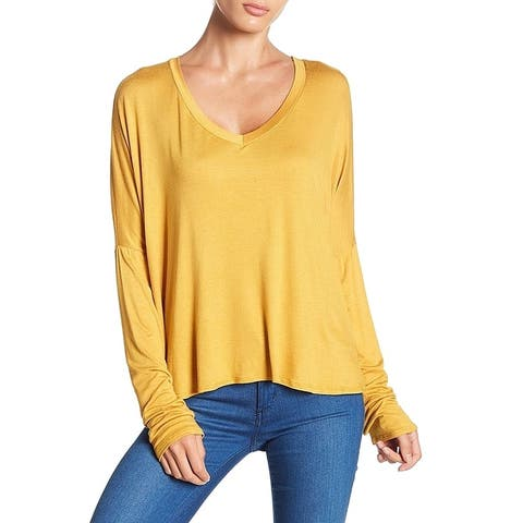 Project Social T Women's Yellow Size XS V-Neck High Low Dolman Blouse