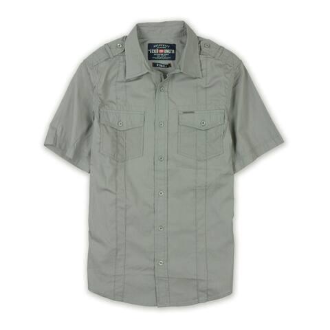 Ecko Unltd. Mens Ss Solid Poplin Button Up Shirt