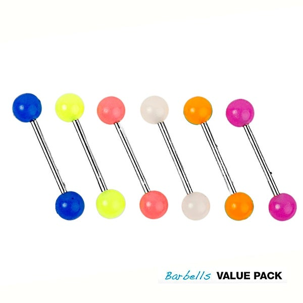 6 Pcs Pack of Assorted Color Surgical Steel Barbells with Glow In The Dark Balls - 14 GA