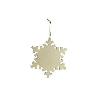 "SPC Wood Ornament Snowflake W/Hanger 8"" Natural"