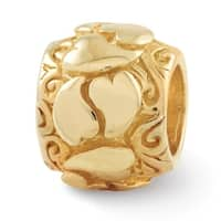 Sterling Silver Reflections Gold-plated Hearts Bead (4mm Diameter Hole)