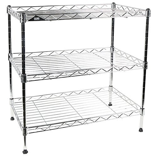apollo hardware chrome 3 tier wire shelving unit 20x12x20 with - Wire Shelving Units