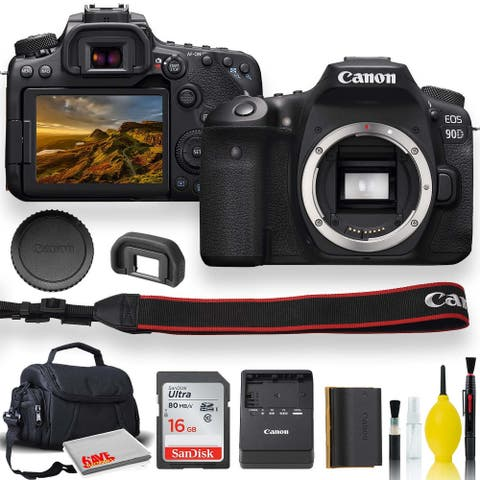 Canon EOS 90D DSLR Camera With Padded Case, Memory Card, and More -