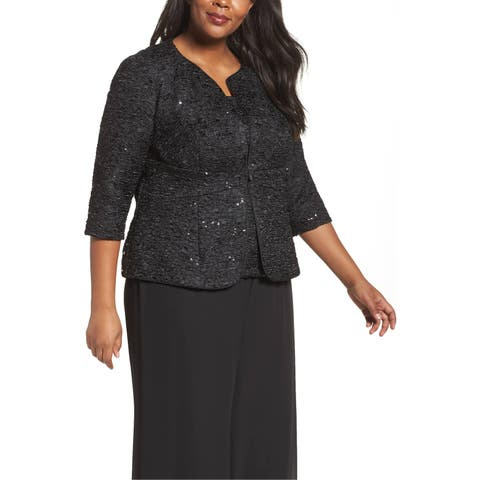 Alex Evenings Black Womens Size 1X Plus Shimmer Jacket Twinset