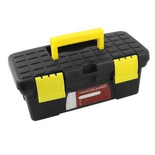 Plastic 2 Layers Small Tools Hardware Case Box Black Yellow