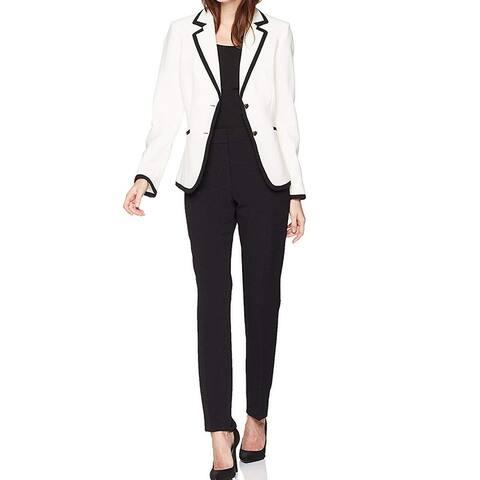 Tahari by ASL Women's White Size 2 Colorblock Contrast Trim Pant Suit