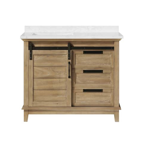OVE Decors Edenderry 42 in. Vanity Rustic Almond Finish and Power Bar