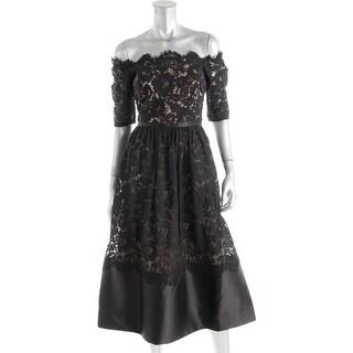 ML Monique Lhuillier Womens Lace Off Shoulder Cocktail Dress