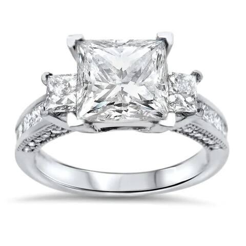 14k White Gold 2.5ct Moissanite 1ct TDW Diamond 3-Stone Engagement Ring