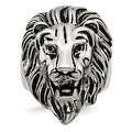 Chisel Stainless Steel Polished and Antiqued Lion Ring - Thumbnail 0