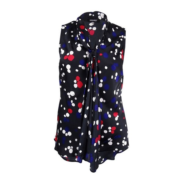 Nine West Women's Plus Size Dot Tie-Neck Blouse (1X, Fire Red/Grape Multi) - Fire Red/Grape Multi - 1X