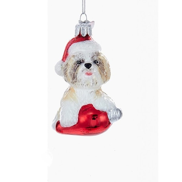 "3.5"" Noble Gems Brown Shihtzu in Santa Hat with Retro C7 Bulb Glass Christmas Ornament"