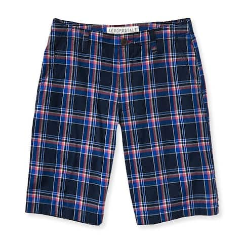 Aeropostale Mens Plaid Flat-Front Casual Bermuda Shorts - 27