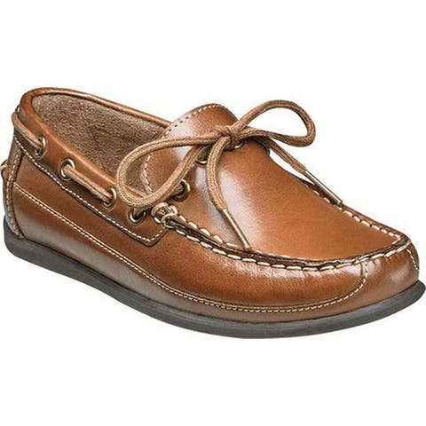 Florsheim Boys' Jasper Tie Boat Shoe Jr. Saddle Tan Smooth Leather