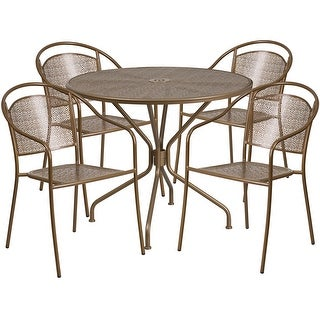 Westbury Round 35.25'' Gold Indoor-Outdoor Steel Table Set w/4 Round Back Chairs for Restaurant/Bar/Pub/Patio