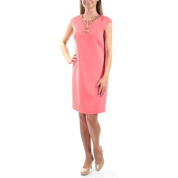 54cdc6294643 Shop VINCE CAMUTO Womens Coral Cap Sleeve Jewel Neck Below The Knee Shift  Party Dress Size: 10 - On Sale - Free Shipping On Orders Over $45 -  Overstock - ...