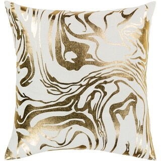 Link to Silver Orchid Barrett Gold Metallic Modern Throw Pillow Similar Items in Decorative Accessories