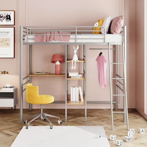 Twin Metal Loft Bed with Desk, Shelves and Hanging Rod, Silver
