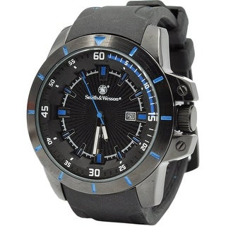 Smith & Wesson Trooper Watch Blue, Rubber Strap 47mm 5ATM - Black