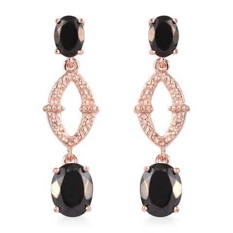 950 Platinum Rose Gold Over Black Shungite Dangle Drop Earrings Ct 3