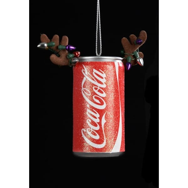 "3"" Decorative Coca-Cola Can with Antlers with Light Strands Christmas Ornament"