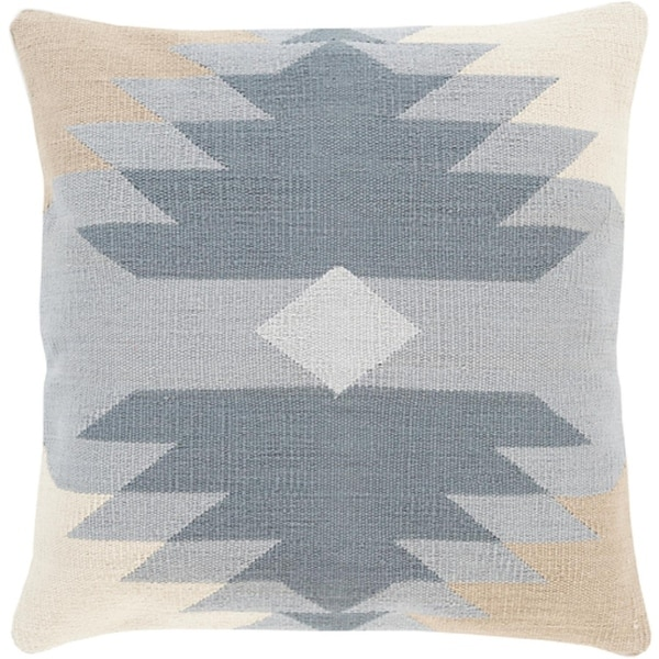 """22"""" Two Toned Gray and Tan Brown Woven Decorative Square Throw Pillow - Down Filler"""