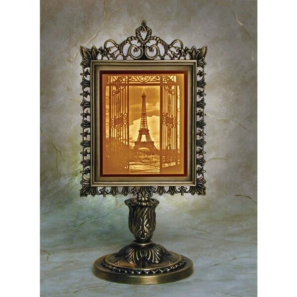 Porcelain Garden Eiffel Tower Lighted Lithophane in Metal Frame Stand - Three Dimensional View - Orange