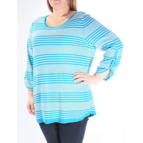 CALVIN KLEIN Womens Blue Striped 3/4 Sleeve Jewel Neck Sweater Size: S