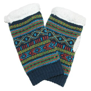 Alotta Knits Women's Knit Texting Gloves with Sherpa Fleece Lining (Option: Navy)