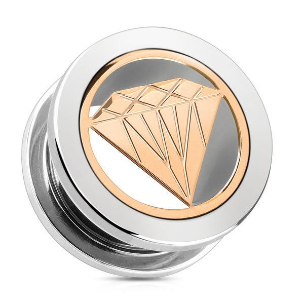 Rose Gold Diamond with 316L Surgical Steel Screw Fit Tunnel (Sold Individually)