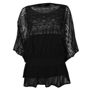 Alfani Women's Metallic Dolman Lace Top - deep black/silver - xs