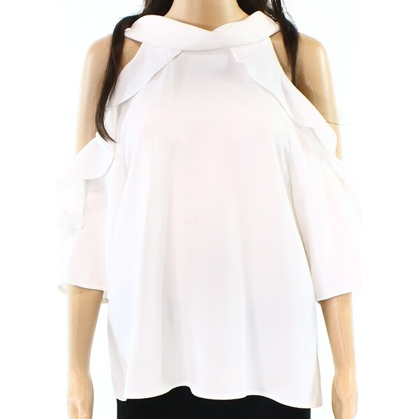c4b586c9fa047 Shop TopShop Ivory White Women s Ruffle Trim Cold Shoulder Blouse - Free  Shipping On Orders Over  45 - Overstock - 26915030