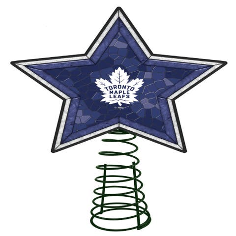"""10"""" Lighted Blue and White Star NHL Toronto Maple Leafs Christmas Tree Topper - N/A"""