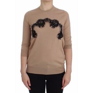Dolce & Gabbana Dolce & Gabbana Beige Wool Black Lace Sweater Pullover