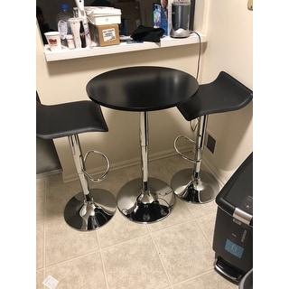 Baxton Black Adjustable Height Wood and Chrome Metal Bar Table and 2 Black Chrome Air Lift Adjustable Swivel Stools Set