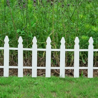 Costway 12FT X 12'' Picket Fence Wooden Outdoor Side Yard Backyard Decoration Lawn Garden