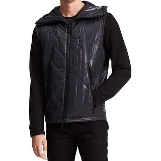 Calvin Klein Black Mens Size 2XL Hooded Geometric Quilted Vest