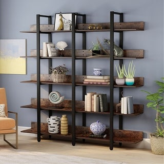 Link to Rustic Triple Wide 5-Tiers Open Bookcase Similar Items in Bookshelves & Bookcases