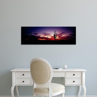 Easy Art Prints Panoramic Images's 'Silhouette of Saguaro cactus, Saguaro National Monument, Arizona' Canvas Art